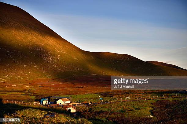 A general view of the water supply hut on Island of Foula on October 2 2016 in Foula Scotland Foula is the remotest inhabited island in Great Britain...