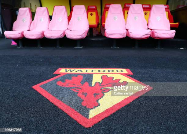 General view of the Watford FC team bench prior to the Premier League match between Watford FC and Aston Villa at Vicarage Road on December 28, 2019...