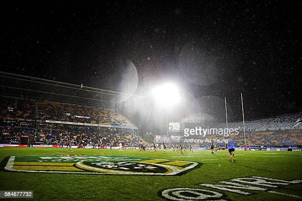 General view of the weather condition is seen during the round 21 NRL match between the New Zealand Warriors and the Penrith Panthers at Mt Smart...