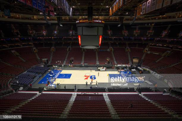 A general view of the Wells Fargo Center as the basketball court is being put together after a hockey game prior to the game between the Charlotte...