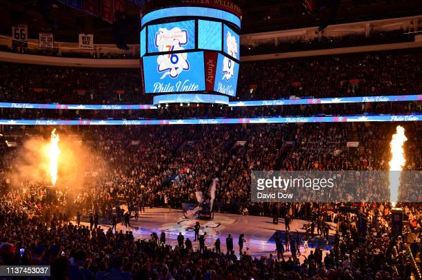 General view of the Wells Fargo Center before Game Two of Round One between the Brooklyn Nets and the Philadelphia 76ers during the 2019 NBA Playoffs...