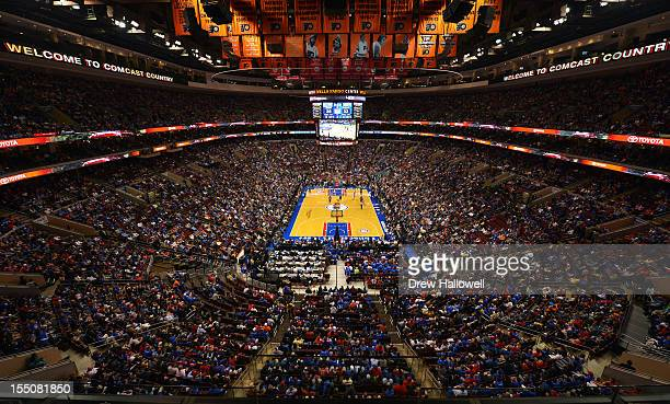 A general view of the Wells Fargo Center during the game between the Denver Nuggets and Philadelphia 76ers on October 31 2012 in Philadelphia...