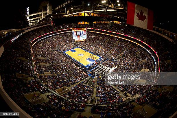A general view of the Wells Fargo Center during the opening night game between the Miami Heat and Philadelphia 76ers on October 30 2013 at the Wells...
