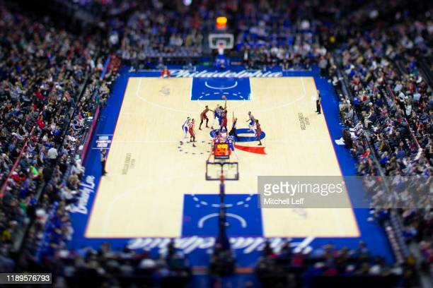 General view of the Wells Fargo Center during the tip-off between the Miami Heat and Philadelphia 76ers on December 18, 2019 in Philadelphia,...