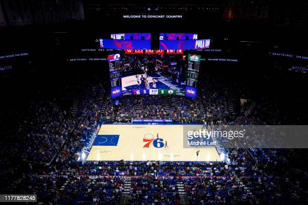 General view of the Wells Fargo Center in the first quarter of the game between the Boston Celtics and Philadelphia 76ers on October 23, 2019 in...