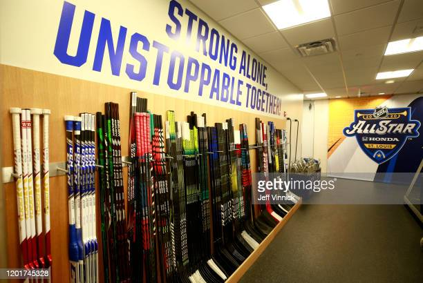 A general view of the Western Conference locker room before the start of the 2020 NHL AllStar Skills at Enterprise Center on January 24 2020 in St...