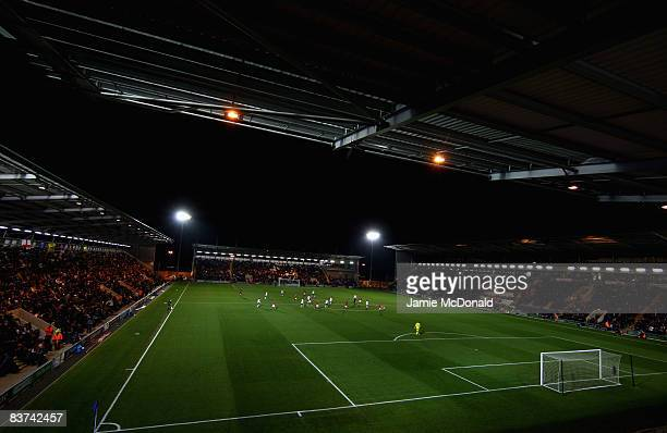 A general view of the Weston Homes Community Stadium during the match between England U19 and Germany U19 at the Weston Homes Community Stadium on...