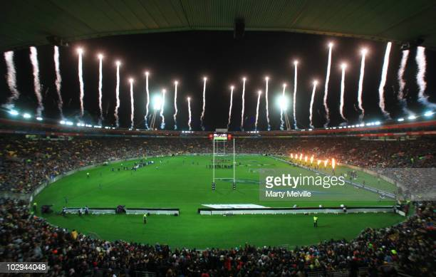 General view of the Westpac Stadium during the Tri-Nations match between the New Zealand All Blacks and South African Springboks at the Westpac...