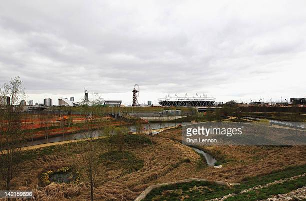General view of the Wetlands Walk and Olympic Stadium during the National Lottery Olympic Park Run at Olympic Stadium on March 31, 2012 in London,...