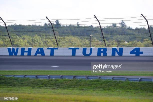 A general view of the What Turn 4 sign during the IndyCar Series ABC Supply 500 on August 18 2019 at Pocono Raceway in Long Pond Pa