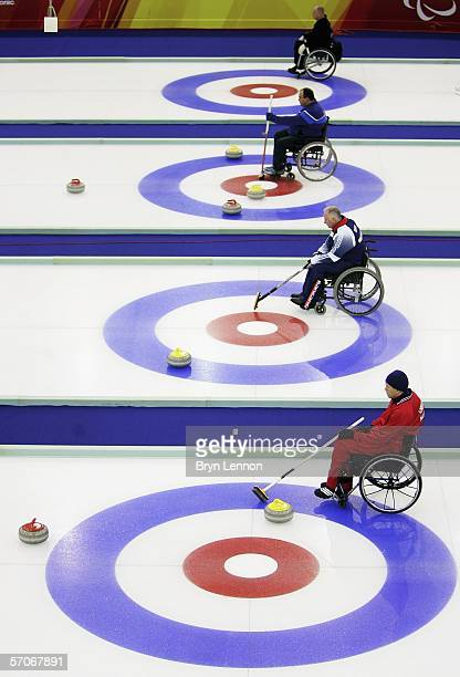 A general view of the Wheelchair Curling competition on day three of the Turin 2006 Winter Paralympic Games on March 13 2006 in Pinerolo Italy