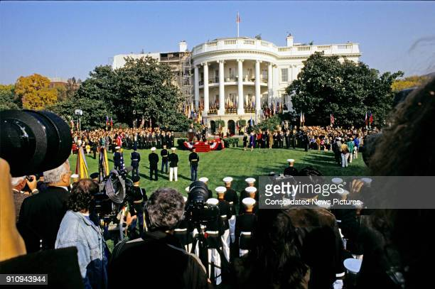 General view of the White House's South Lawn as the press the military an honor guard and spectators attend US President George HW Bush host a State...
