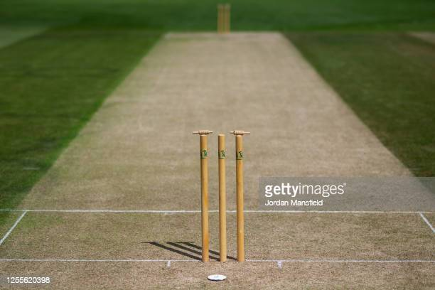 General view of the wicket ahead of the start of play at Preston Nomads Cricket Club on July 11, 2020 in Fulking, England. Competitive local cricket...