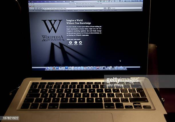 A General View Of The Wikipedia'S English Home Page As Wikipedia Blacked Out Its Web Pages As Part Of A Global Protest Against AntiPiracy Legislation...
