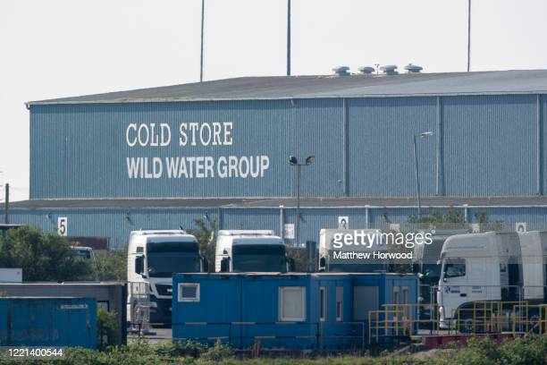 A general view of the Wild Water Group cold storage warehouse the site of a temporary mortuary facility established at the Port of Cardiff on April...