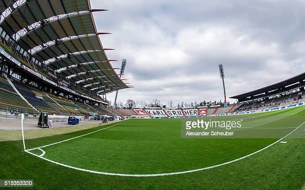 A general view of the Wildpark Stadium during the second bundesliga match between Karlsruher SC and 1 FC Heidenheim at Wildpark Stadium on March 13...