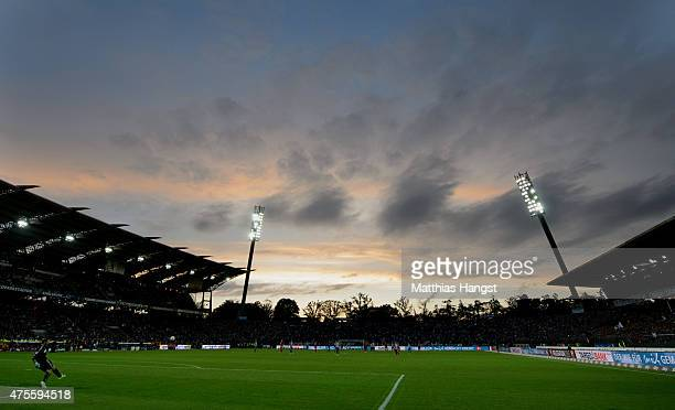 General view of the Wildpark Stadium during the second leg of the Bundesliga playoff match between Karlsruher SC and Hamburger SV at Wildpark Stadium...