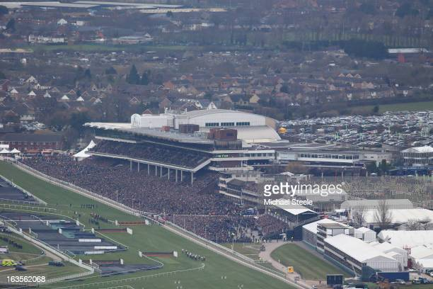 General view of the William Hill Supreme Novices' Hurdle Race from Cleeve Hill during Champion Day at Cheltenham Racecourse on March 12, 2013 in...
