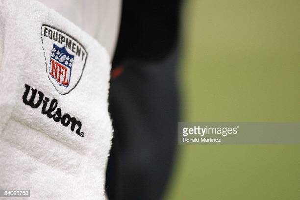 A general view of the Wilson NFL Equipment Logo taken during the game between the Dallas Cowboys and the New York Giants at Texas Stadium on December...