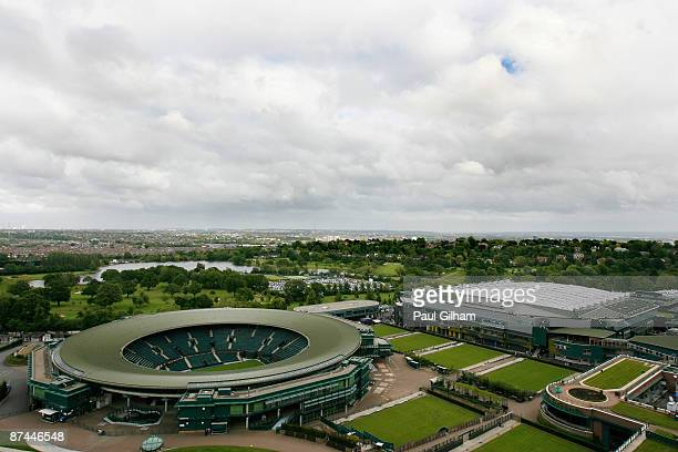 A general view of the Wimbledon complex with the Centre Court roof closed during the Centre Court Celebration at Wimbledon on May 17 2009 in London...