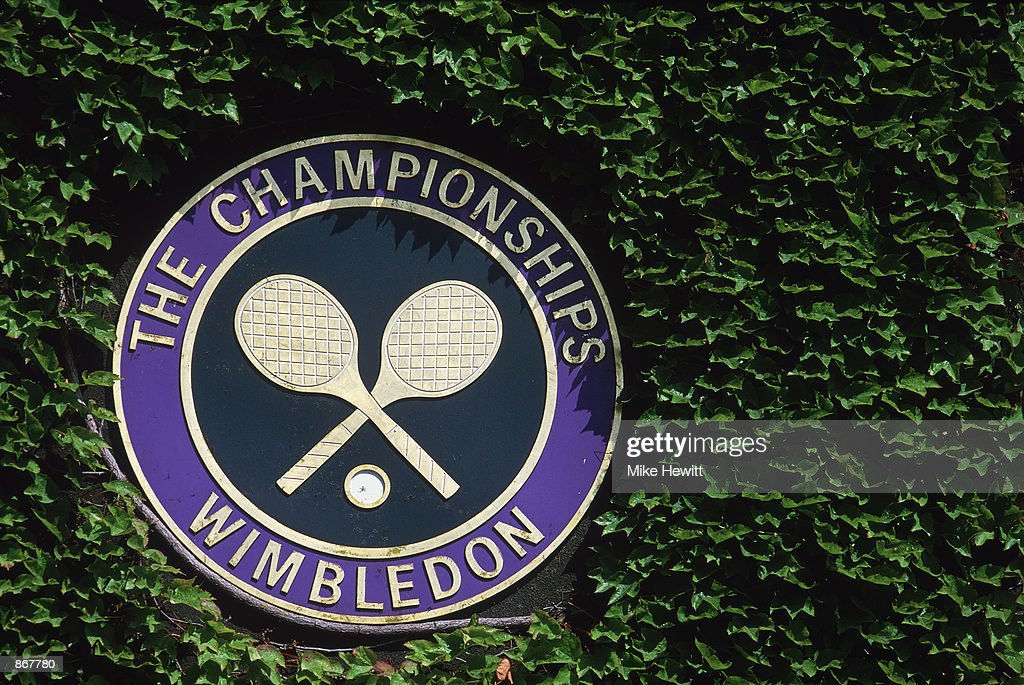 General view of the Wimbledon logo during the second round of the Wimbledon Lawn Tennis Championship held at the All England Lawn Tennis and Croquet Club, in Wimbledon, London on June 26, 2002.