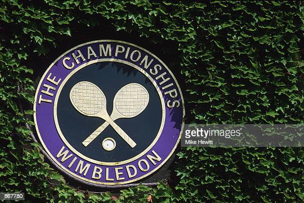 General view of the Wimbledon logo during the second round of the Wimbledon Lawn Tennis Championship held at the All England Lawn Tennis and Croquet...