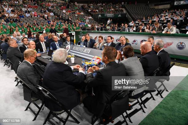 A general view of the Winnipeg Jets draft table is seen during the first round of the 2018 NHL Draft at American Airlines Center on June 22 2018 in...