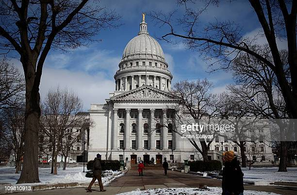 A general view of the Wisconsin State Capitol on March 6 2011 in Madison Wisconsin Demonstations continue at the Wisconsin State Capitol against...