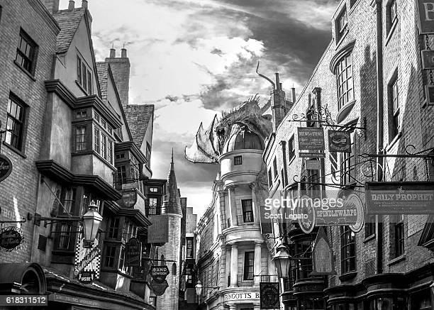 General view of the Wizarding World of Harry Potter Diagon Alley at Universal Orlando on October 24 2016 in Orlando Florida