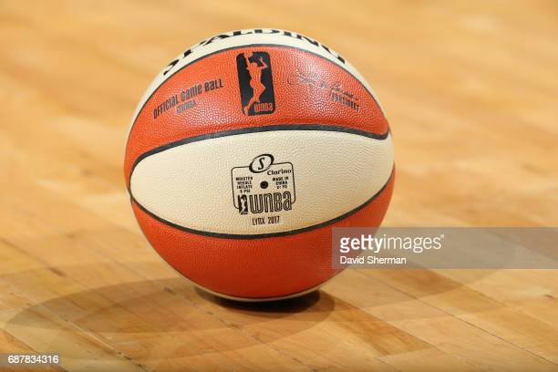 A general view of the @WNBA Spalding basketball used during the game between the Connecticut Sun and the Minnesota Lynx on May 23 2017 at Xcel Energy...