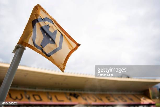 General view of the Wolverhampton Wanderers corner flag before the Sky Bet Championship match between Wolverhampton Wanderers and Brighton Hove...