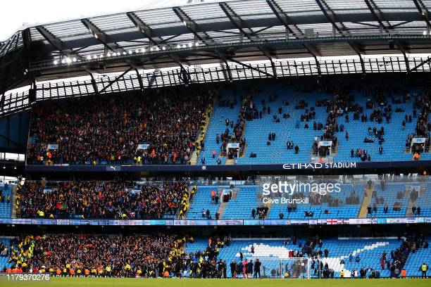 General view of the Wolverhampton Wanderers fans celebrating their victory in the Premier League match between Manchester City and Wolverhampton...