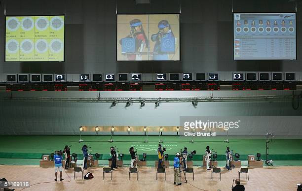 A general view of the women's 10 metre air rifle finals on August 14 2004 during the Athens 2004 Summer Olympic Games at the Markopoulo Olympic...