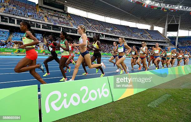 A general view of the Women's 10000 metres final on Day 7 of the Rio 2016 Olympic Games at the Olympic Stadium on August 12 2016 in Rio de Janeiro...