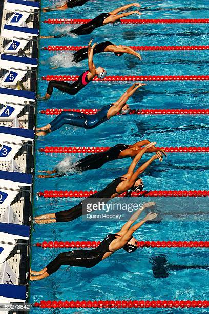 A general view of the Women's 100m Backstroke Heats during the 13th FINA World Championships at the Stadio del Nuoto on July 27 2009 in Rome Italy