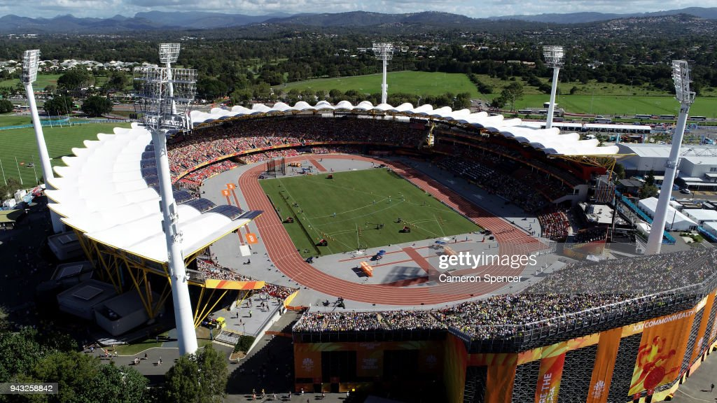 A general view of the Women's 100m heats during the first session of the Athletics on day four of the Gold Coast 2018 Commonwealth Games at Carrara Stadium on April 8, 2018 on the Gold Coast, Australia.