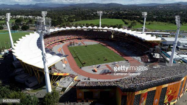 A general view of the Women's 100m heats during the first session of the Athletics on day four of the Gold Coast 2018 Commonwealth Games at Carrara...