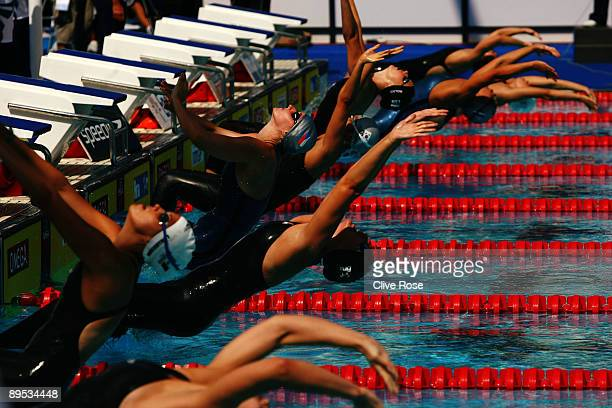 A general view of the Women's 200m Backstroke Heats during the 13th FINA World Championships at the Stadio del Nuoto on July 31 2009 in Rome Italy