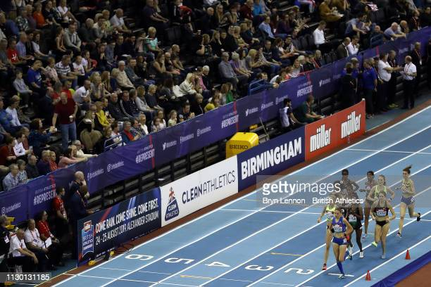 A general view of the Women's 3000m during the Muller Indoor Grand Prix IAAF World Indoor Tour event at Arena Birmingham on February 16 2019 in...