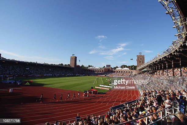 General view of the women's 5000m during the IAAF Diamond League meeting at the Olympic Stadium on August 6 2010 in Stockholm Sweden