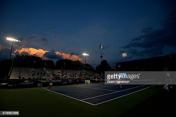 General view of the women's doubles championship between Shuko Aoyama and Risa Ozaki of Japan and Monica Niculescu of Romania and Yanina Wickmayer of...