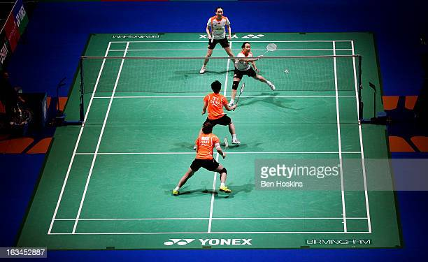 General view of the women's doubles final between Wang Xiaoli and Yu Yang of China and Cheng Shu and Zhao Yunlei of China during Day 6 of the Yonex...