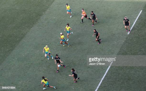 General view of the womens final between Australia and New Zealand during Rugby Sevens on day 11 of the Gold Coast 2018 Commonwealth Games at Robina...