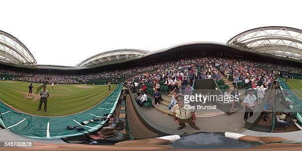 A general view of the Women's Final on Centre Court on day twelve of the Wimbledon Lawn Tennis Championships at the All England Lawn Tennis and...