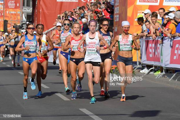 A general view of the Women's Marathon final during day six of the 24th European Athletics Championships at Olympiastadion on August 12 2018 in...