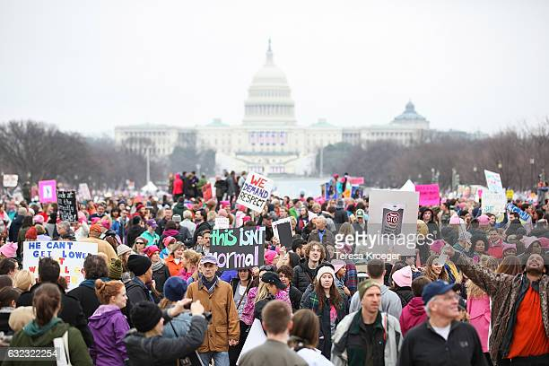 General view of the Women's March on Washington on January 21, 2017 in Washington, DC.