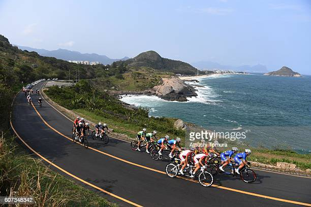 General view of the women's road race B on day 10 of the Rio 2016 Paralympic Games at Pontal Cycling Road on September 17 2016 in Rio de Janeiro...