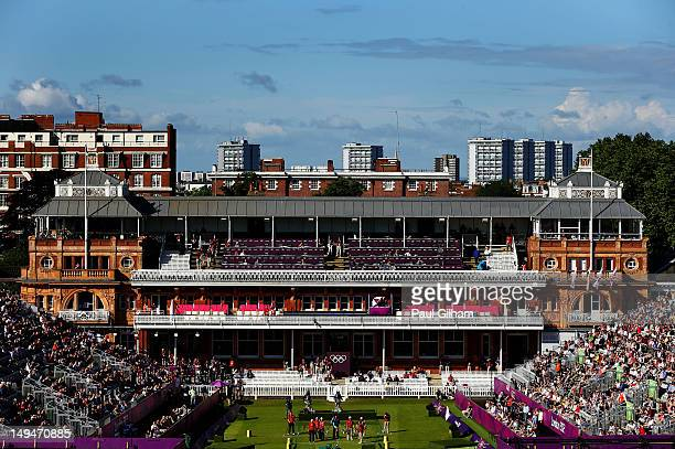 General view of the Women's Team Archery Eliminations match between India and Denmark on Day 2 of the London 2012 Olympic Games at Lord's Cricket...