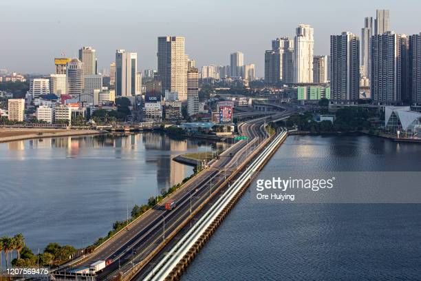 General view of the Woodlands Causeway on March 18 2020 in Singapore The land link between Singapore and Johor Bahru Malaysia is empty of its usual...