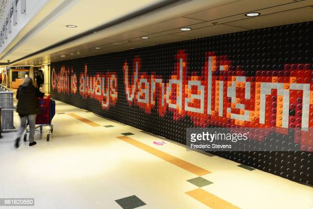 A general view of the work of French streetartist Lenz displayed in the commercial center of Bercy 2 near for the Street Art Anamorphose Project...